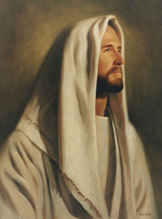 A portrait of Christ in white robes with a white head covering, looking over to the right side.