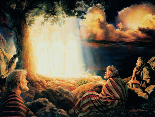 Peter, James, and John sit and look in wonder at Christ standing next to Moses and Elijah in a bright ray of light on the Mount of Transfiguration.