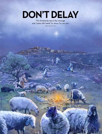 Shepherds leave their flocks to follow the star over Bethlehem.