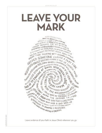 Hand-lettered phrases about faithful behavior and choices in the shape of a fingerprint.