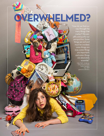 A young woman with an anxious expression lies pinned under a precarious heap of objects representing work, hobbies, service, education, and faith.