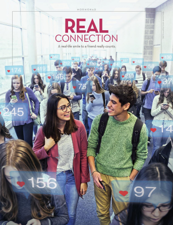 A hallway full of people stare at their phones with social media hearts floating over their heads, while a man and woman who aren't on their phones smile at each other.