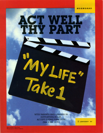 "A conceptual photograph showing a black-and-white, Hollywood-style clapboard with ""'My Life' Take 1"" written on it in yellow chalk, paired with the words ""Act Well Thy Part."""