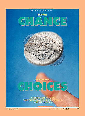 "A conceptual photograph of a U.S. quarter being flipped in someone's hand, paired with the words ""Don't Let Chance Determine Your Choices."""