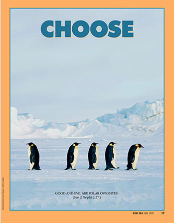 "A photograph of a penguin walking in the opposite direction from a row of four other penguins, paired with the word ""Choose."""