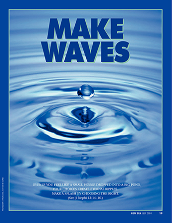 "A conceptual photograph of a drop of water sending out ripples in a blue pool, paired with the words ""Make Waves."""
