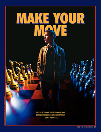 "A conceptual photograph of a young man standing on a large chessboard with game pieces on either side, paired with the words ""Make Your Move."""