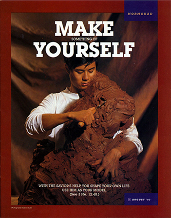 "A conceptual photograph of a young man sculpting himself out of clay, paired with the words ""Make Something of Yourself."""