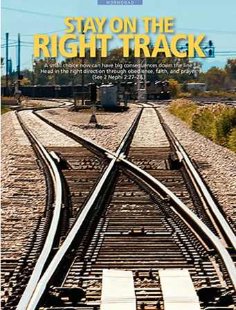 "A photograph of a train track diverging in two directions near a train yard, paired with the words ""Stay on the Right Track."""