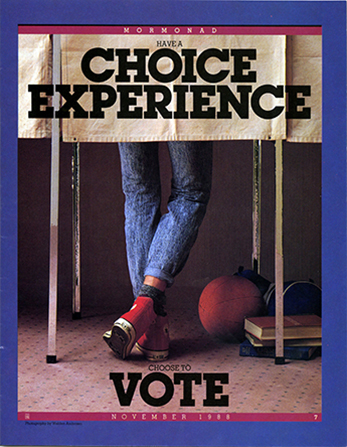 "A photograph of a young man's legs seen below the curtain of a voting booth, paired with the words ""Have a Choice Experience. Choose to Vote."""