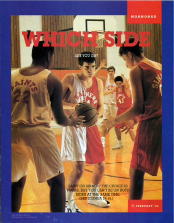 "A photo of a teen with a half-white, half-red basketball jersey, choosing which team to pass the ball to, paired with the words ""Which Side Are You On?"""