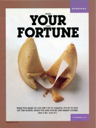 "A conceptual image of a broken fortune cookie with a blank slip of paper inside of it, paired with the words ""Make Your Own Fortune."""