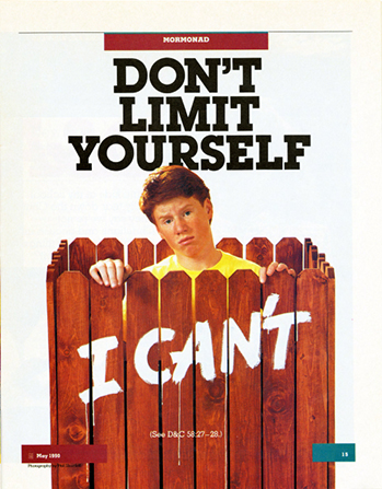 "A conceptual photograph of a young man standing behind a fence with ""I can't"" painted on it, paired with the words ""Don't Limit Yourself."""