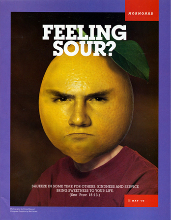 "A conceptual photograph of a young man whose head is a yellow lemon with a frown, paired with the words ""Feeling Sour?"""