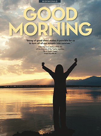 "A conceptual photograph showing a silhouette of a woman stretching next to a lake at sunrise, with the words ""Good Morning"" overhead."