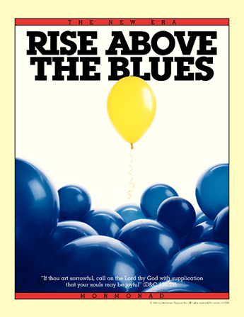 "A conceptual photograph of a yellow helium balloon rising above blue balloons, paired with the words ""Rise above the Blues."""