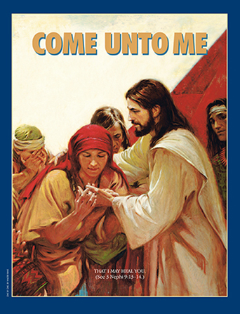 "A painting showing the people in the Americas looking at the prints in Christ's hands, paired with the words ""Come unto Me."""