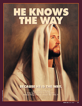 "A painting of the Savior, paired with the words ""He Knows the Way."""