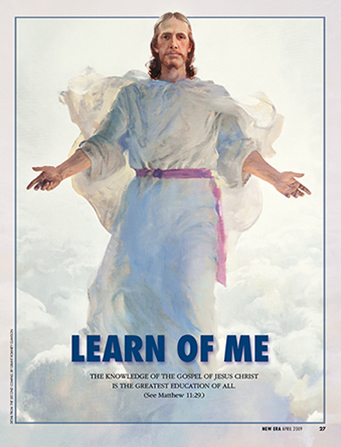 """A painting of the resurrected Savior at the Second Coming, paired with the words """"Learn of Me."""""""