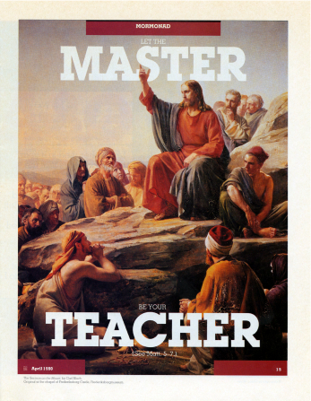 "A painting of Christ giving the Sermon on the Mount, paired with the words ""Let the Master Be Your Teacher."""