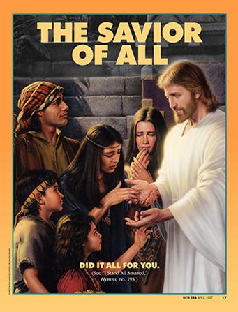 "A painting depicting the people in the Americas looking at the prints in Christ's hands, paired with the words ""The Savior of All."""