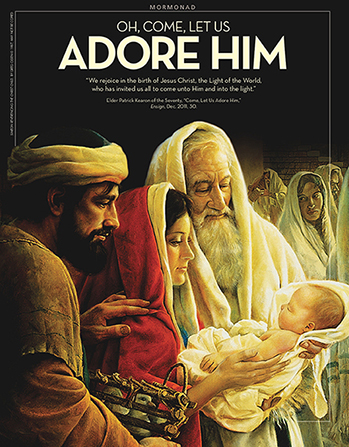 """A painting depicting Mary and Joseph presenting the Christ child at the temple, paired with the words """"Oh, Come, Let Us Adore Him."""""""