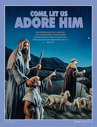 "A painting of three shepherds looking toward the night sky, paired with the words ""Come, Let Us Adore Him."""
