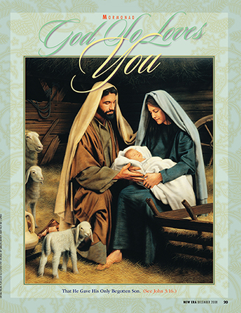 "A painting showing Mary and Joseph holding the Christ child, with the words ""God So Loves You"" emphasized on the top border."