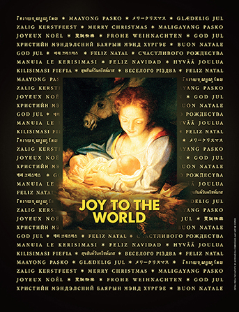 "A Nativity depiction with the words ""Merry Christmas"" printed in various languages along the border and the words ""Joy to the World"" in the center."