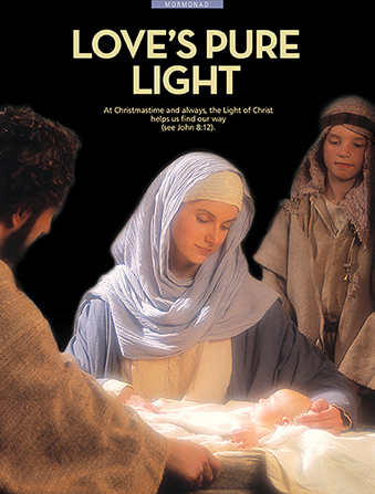 "A photograph of a Nativity reenactment, paired with the words ""Love's Pure Light."""