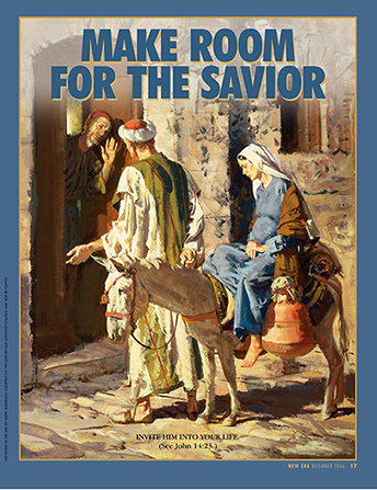 "A painting of Joseph and Mary looking for a room in Bethlehem, paired with the words ""Make Room for the Savior."""