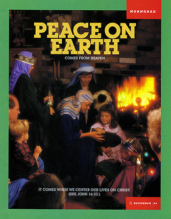 "A photograph of a family reenacting the Nativity scene near the fireplace, paired with the words ""Peace on Earth Comes from Heaven."""