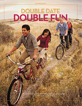 "A poster showing two couples on tandem bikes, paired with the words ""Double Date, Double Fun."""