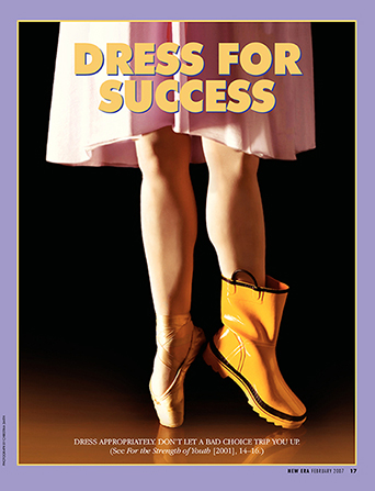 "A conceptual photograph depicting a ballerina wearing one pointe shoe and one rain boot, paired with the words ""Dress for Success."""