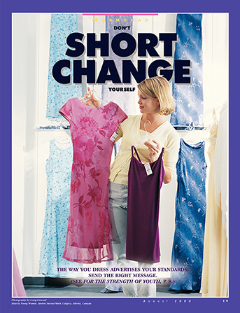 "A poster depicting a young woman choosing between two dresses, paired with the words ""Don't Short Change Yourself."""