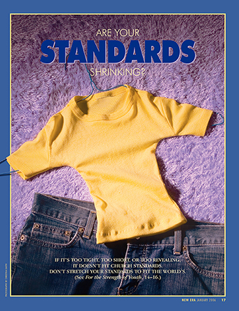 "A conceptual photograph of an abnormally small shirt next to a normal pair of jeans, paired with the words ""Are Your Standards Shrinking?"""
