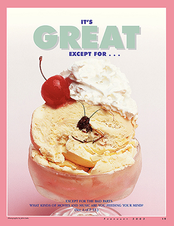 "A conceptual photograph showing a dead cockroach in a dish of ice cream, paired with the words ""It's Great Except For …"""