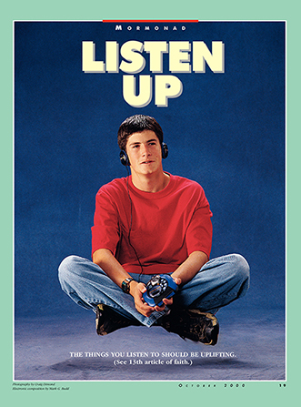"A conceptual photograph of a young man levitating off of the ground while listening to music, paired with the words ""Listen Up."""
