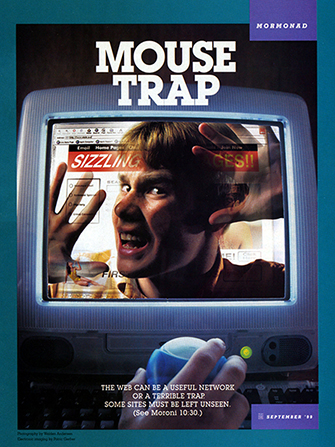 "A conceptual photograph of a young man trapped inside of a computer monitor, paired with the words ""Mouse Trap."""