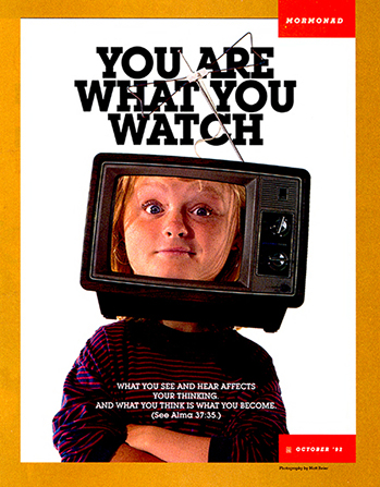 "A conceptual photograph of a young woman with arms folded and her head inside a TV, paired with the words ""You Are What You Watch."""