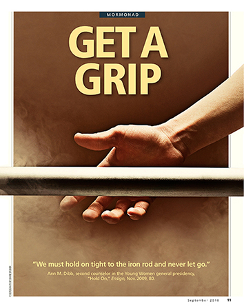 "A conceptual photograph showing a hand reaching out to hold onto an iron rod, paired with the words ""Get a Grip."""