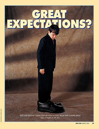 "A conceptual photograph of a young boy in a black suit wearing shoes that are much too big, paired with the words ""Great Expectations."""