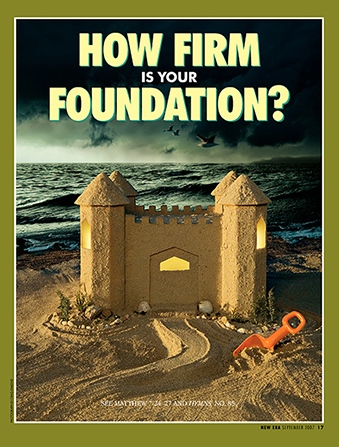 "A conceptual photograph of a sand castle on a beach with a storm in the background, paired with the words ""How Firm Is Your Foundation?"""