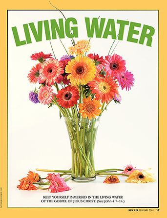 "A vase of healthy flowers surrounded by dead flowers, paired with the words ""Living Water."""