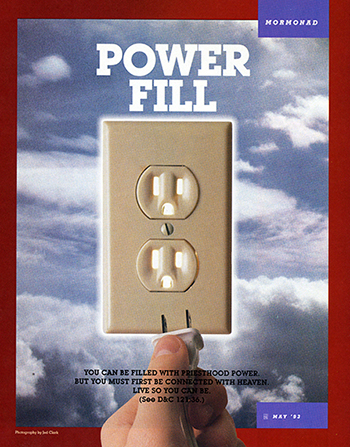 "A conceptual photograph showing a wall plug against the background of the sky, paired with the words ""Power Fill."""