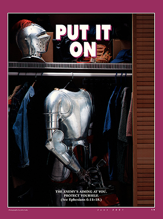 "A conceptual photograph of a suit of armor in a closet full of normal clothing, paired with the words ""Put It On."""