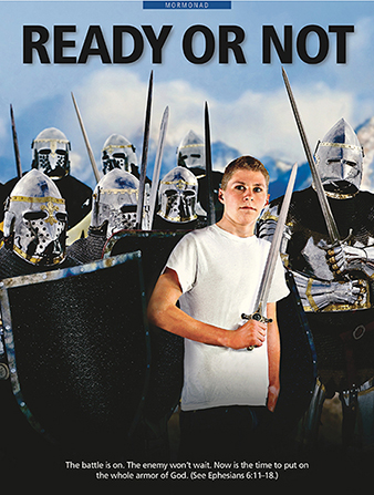 "A conceptual photograph of a young man holding a sword surrounded by armored warriors, paired with the words ""Ready or Not."""