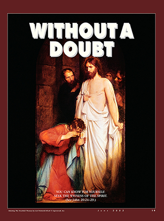 "A painting of Christ appearing to Thomas, paired with the words ""Without a Doubt."""