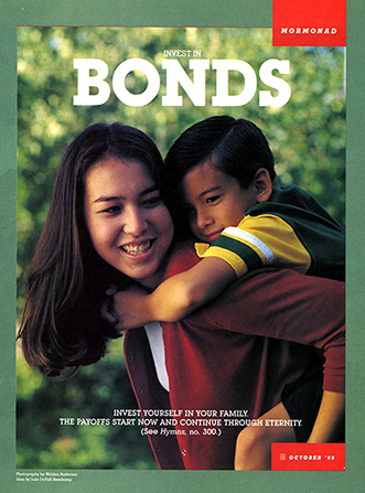 "A poster showing a woman carrying a child on her back, paired with the words ""Invest in Bonds."""