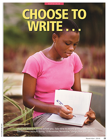 "A poster showing a young woman writing in her journal, paired with the words ""Choose to Write."""